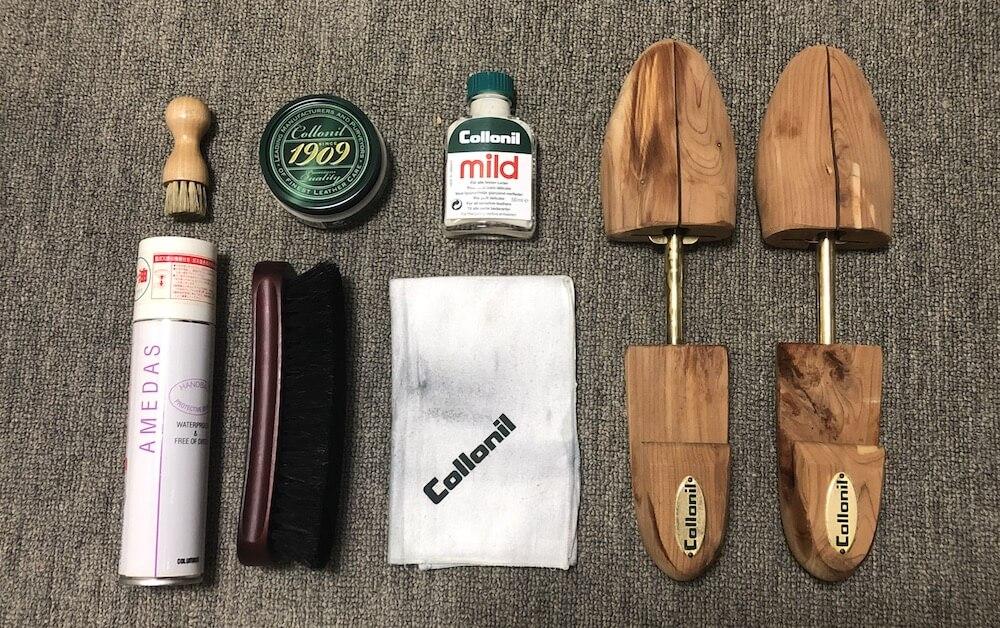 ウイングチップの革靴のお手入れに使用した道具