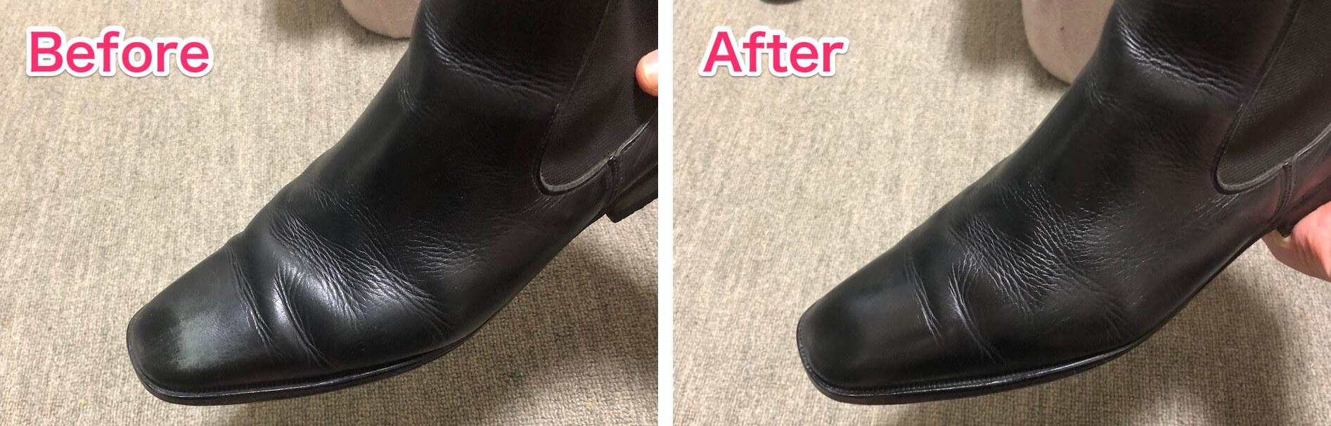 革靴の白い擦れを補修ビフォーアフター